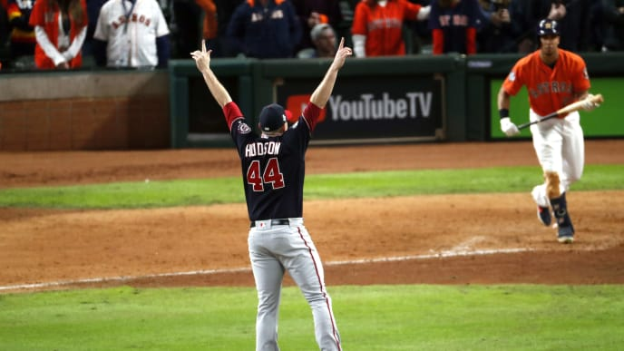 HOUSTON, TEXAS - OCTOBER 30:  Daniel Hudson #44 of the Washington Nationals celebrates after striking out Michael Brantley #23 of the Houston Astros to win Game Seven 6-2 to win the 2019 World Series in Game Seven of the 2019 World Series at Minute Maid Park on October 30, 2019 in Houston, Texas. (Photo by Tim Warner/Getty Images)