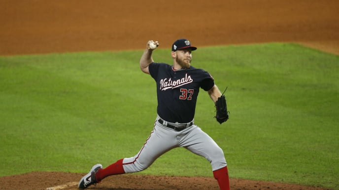 Stephen Strasburg pitches for the Nationals in the World Series