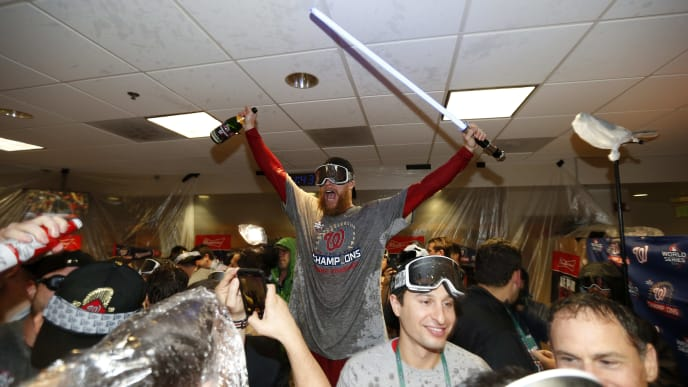 HOUSTON, TEXAS - OCTOBER 30:  Sean Doolittle #63 of the Washington Nationals celebrates in the locker room after defeating the Houston Astros in Game Seven to win the 2019 World Series at Minute Maid Park on October 30, 2019 in Houston, Texas. The Washington Nationals defeated the Houston Astros with a score of 6 to 2. (Photo by Elsa/Getty Images)