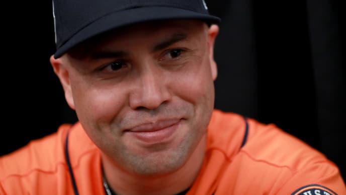 LOS ANGELES, CA - OCTOBER 23:  Carlos Beltran #15 of the Houston Astros answers questions from the media ahead of the World Series at Dodger Stadium on October 23, 2017 in Los Angeles, California. The Dodgers will take on the Houston Astros in the World Series.  (Photo by Justin Heiman/Getty Images)