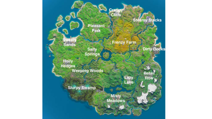 Fortnite Chapter 2 Map All Named Locations