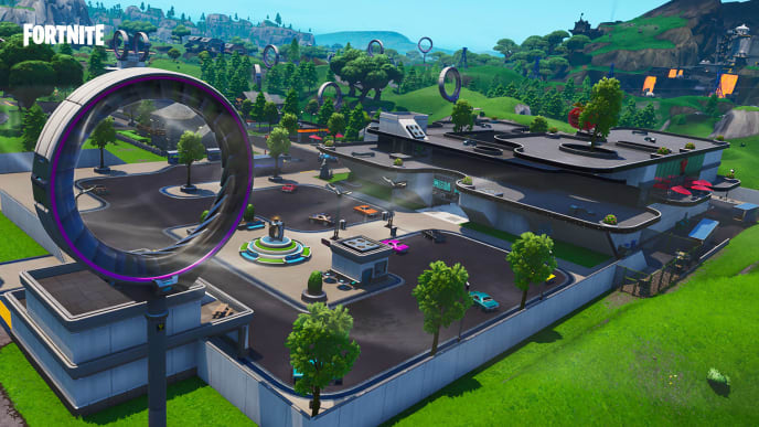 Fortbyte between Mega Mall and Dusty Divot is vaguely described, but easy to find.