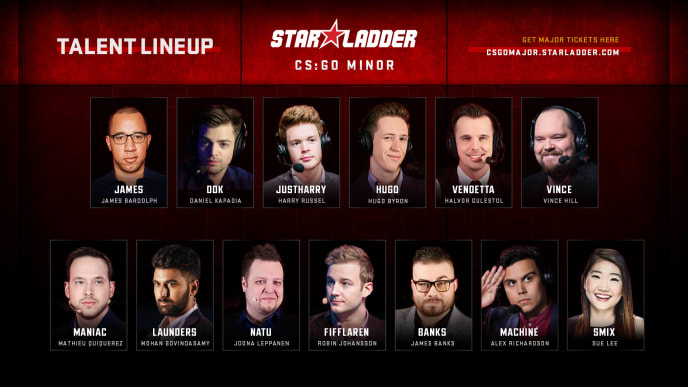 StarLadder announced Tuesday the talent to present the Americas and Europe Minor.