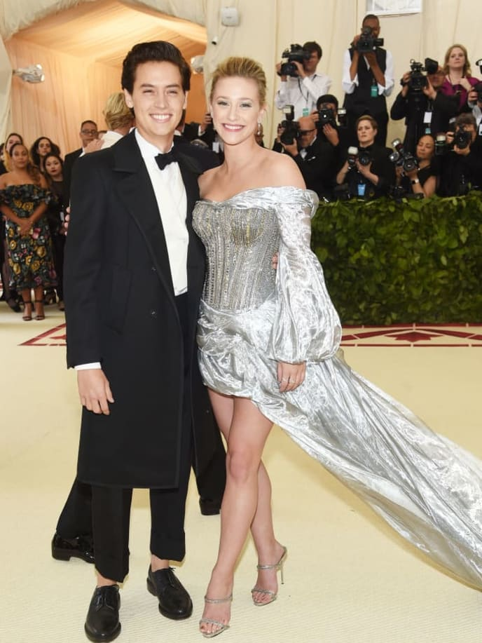 NEW YORK, NY - MAY 07:  Cole Sprouse and Lili Reinhart attend the Heavenly Bodies: Fashion & The Catholic Imagination Costume Institute Gala at The Metropolitan Museum of Art on May 7, 2018 in New York City.  (Photo by Jamie McCarthy/Getty Images)