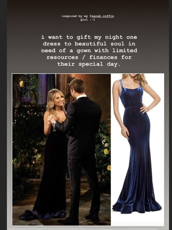 Victoria Paul donating 'The Bachelor' night one dress to fan