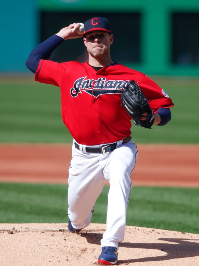 CLEVELAND, OH - APRIL 20: Starting pitcher Corey Kluber #28 of the Cleveland Indians pitches against the Atlanta Braves during the first inning of Game 1 of a doubleheader at Progressive Field on April 20, 2019 in Cleveland, Ohio. (Photo by Ron Schwane/Getty Images)