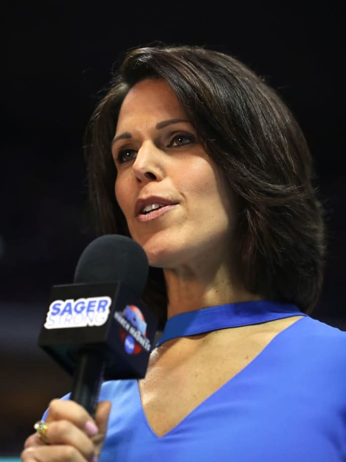 TULSA, OK - MARCH 19: Sports anchor Dana Jacobson is seen commentating during the game between the Baylor Bears and the USC Trojans during the second round of the 2017 NCAA Men's Basketball Tournament at BOK Center on March 19, 2017 in Tulsa, Oklahoma.  (Photo by Ronald Martinez/Getty Images)
