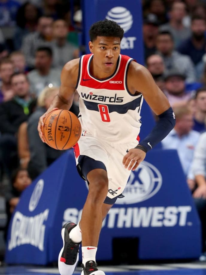 DALLAS, TEXAS - OCTOBER 23: Rui Hachimura #8 of the Washington Wizards dribbles the ball against the Dallas Mavericks in the first half at American Airlines Center on October 23, 2019 in Dallas, Texas. NOTE TO USER: User expressly acknowledges and agrees that, by downloading and or using this photograph, User is consenting to the terms and conditions of the Getty Images License Agreement.  (Photo by Tom Pennington/Getty Images)