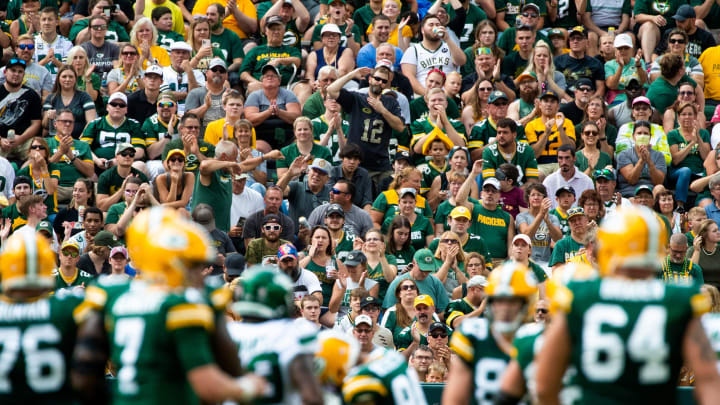 Fans cheer in the first half as Green Bay plays against the New York Jets on Saturday, August 21, 2021 at at Lambeau Field.