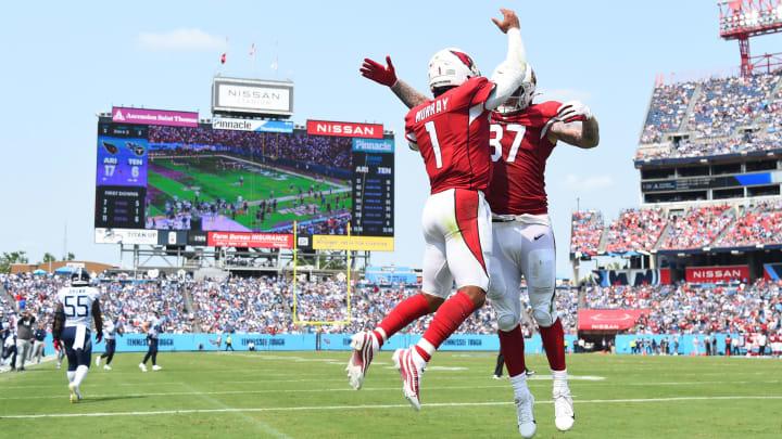 Sep 12, 2021; Nashville, TN; Arizona Cardinals quarterback Kyler Murray (1) celebrates a TD run with Arizona Cardinals tight end Maxx Williams (87)