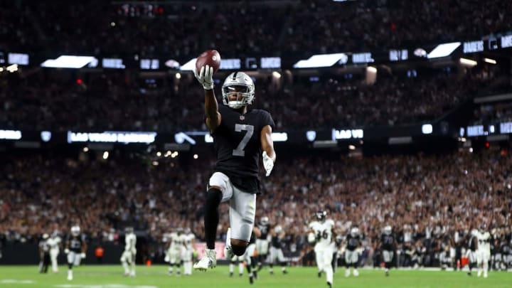 Sep 13, 2021; Paradise, Nevada, USA; Las Vegas Raiders WR Zay Jones (7) celebrates scoring the game winning touchdown against the Baltimore Ravens.