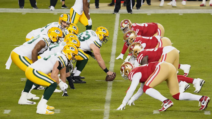 Nov 5, 2020; Santa Clara, CA; Green Bay Packers quarterback Aaron Rodgers (12) waits for the snap against the San Francisco 49ers.