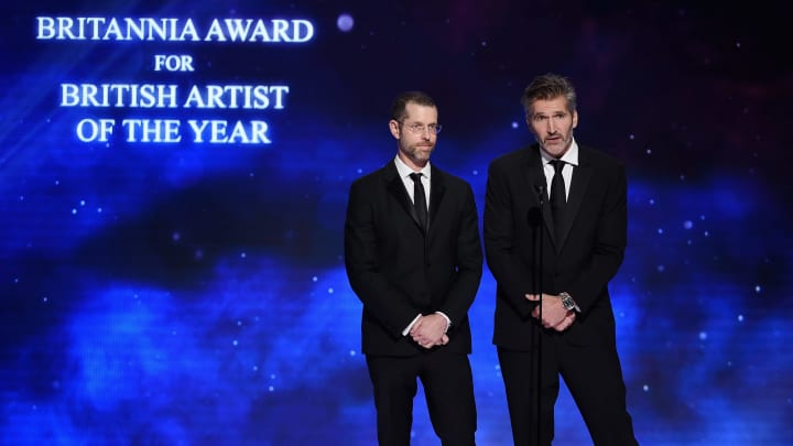 BEVERLY HILLS, CA - OCTOBER 26:  D. B. Weiss (L) and David Benioff present the Britannia Award for British Artist of the Year onstage at the 2018 British Academy Britannia Awards presented by Jaguar Land Rover and American Airlines at The Beverly Hilton Hotel on October 26, 2018 in Beverly Hills, California.  (Photo by Kevin Winter/Getty Images for BAFTA LA)