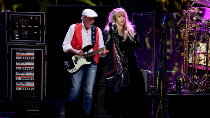 LAS VEGAS, NV - SEPTEMBER 21: (EDITORIAL USE ONLY, NO COMMERCIAL USE)  John McVie (L) and Stevie Nicks of Fleetwood Mac perform onstage during the 2018 iHeartRadio Music Festival at T-Mobile Arena on September 21, 2018 in Las Vegas, Nevada.  (Photo by Kevin Winter/Getty Images for iHeartMedia)