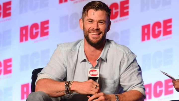 CHICAGO, ILLINOIS - OCTOBER 13: Chris Hemsworth speaks on stage during ACE Comic Con Midwest at Donald E. Stephens Convention Center on October 13, 2019 in Rosemont, Illinois. (Photo by Daniel Boczarski/Getty Images)