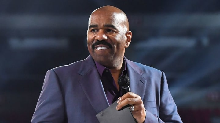 ATLANTA, GEORGIA - MARCH 21:  Steve Harvey speaks onstage during 2019 Beloved Benefit at Mercedes-Benz Stadium on March 21, 2019 in Atlanta, Georgia. (Photo by Paras Griffin/Getty Images)