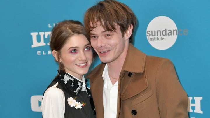 """PARK CITY, UT - JANUARY 27: (EDITORS NOTE: Retransmission with alternate crop.)   Natalia Dyer (L) and Charlie Heaton attend the """"Velvet Buzzsaw"""" Premiere during the 2019 Sundance Film Festival  at Eccles Center Theatre on January 27, 2019 in Park City, Utah.  (Photo by Neilson Barnard/Getty Images)"""