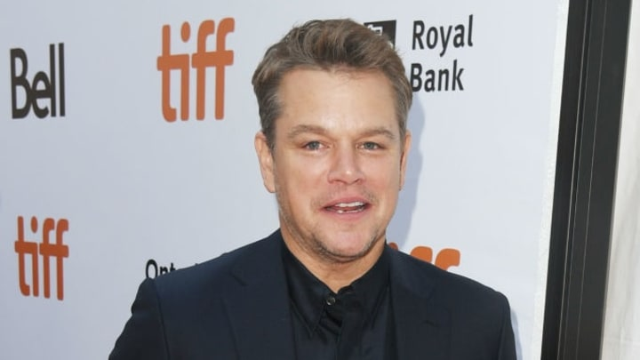 """TORONTO, ONTARIO - SEPTEMBER 09: Matt Damon attends the """"Ford v Ferrari"""" premiere during the 2019 Toronto International Film Festival at Roy Thomson Hall on September 09, 2019 in Toronto, Canada. (Photo by Kevin Winter/Getty Images for TIFF)"""