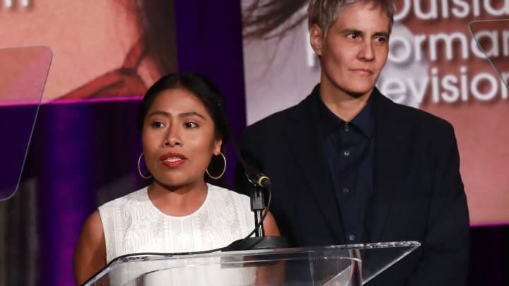 BEVERLY HILLS, CALIFORNIA - FEBRUARY 22:  Actress Yalitza Aparicio winner of the 'Outstanding Performance in a Film Impact Award' for the film 'Roma' speaks onstage during the 22nd Annual National Hispanic Media Coalition Impact Awards Gala at Regent Beverly Wilshire Hotel on February 22, 2019 in Beverly Hills, California. (Photo by JC Olivera/Getty Images for National Hispanic Media Coalition )