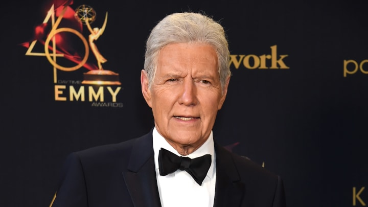 PASADENA, CALIFORNIA - MAY 05: Alex Trebek poses in the press room during the 46th annual Daytime Emmy Awards at Pasadena Civic Center on May 05, 2019 in Pasadena, California. (Photo by Gregg DeGuire/Getty Images)