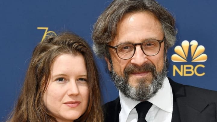 LOS ANGELES, CA - SEPTEMBER 17:  Sarah Cain (L) and Marc Maron attend the 70th Emmy Awards at Microsoft Theater on September 17, 2018 in Los Angeles, California.  (Photo by Frazer Harrison/Getty Images)