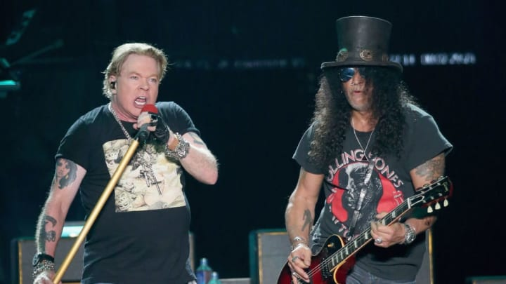 AUSTIN, TEXAS - OCTOBER 04:  Axl Rose (L) and Slash of Guns N' Roses perform in concert during weekend one of the 2019 ACL Fest at Zilker Park on October 4, 2019 in Austin, Texas.  (Photo by Gary Miller/Getty Images)