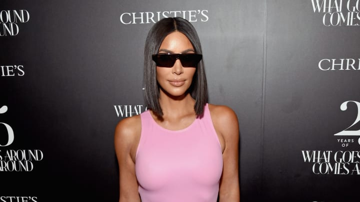 BEVERLY HILLS, CA - AUGUST 21:  Kim Kardashian West attends Christie's x What Goes Around Comes Around 25th Anniversary Auction Preview at What Goes Around Comes Around on August 21, 2018 in Beverly Hills, California.  (Photo by Michael Kovac/Getty Images for What Goes Around Comes Around)