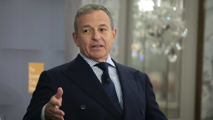 NEW YORK, NY - OCTOBER 24:  Bob Iger, chairman and chief executive officer of The Walt Disney Company, speaks during an Economic Club of New York event in Midtown Manhattan on October 24, 2019 in New York City. Earlier this year, Iger announced that he will step down as CEO and chairman of Disney when his contract expires at the end of 2021. (Photo by Drew Angerer/Getty Images)