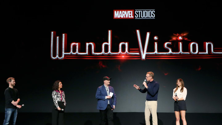 ANAHEIM, CALIFORNIA - AUGUST 23: (L-R) Director Matt Shakman and Head writer Jac Schaeffer of 'WandaVision,' President of Marvel Studios Kevin Feige, and Paul Bettany and Elizabeth Olsen of 'WandaVision' took part today in the Disney+ Showcase at Disney's D23 EXPO 2019 in Anaheim, Calif.  'WandaVision' will stream exclusively on Disney+, which launches November 12. (Photo by Jesse Grant/Getty Images for Disney)