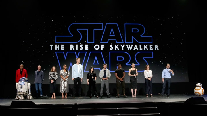 ANAHEIM, CALIFORNIA - AUGUST 24: (L-R) Billy Dee Williams, Anthony Daniels, Keri Russell, Naomi Ackie, Joonas Suotamo, Kelly Marie Tran, Oscar Isaac, John Boyega, Daisy Ridley, Producer Kathleen Kennedy, and Director/producer/writer J.J. Abrams of 'Star Wars: The Rise of Skywalker' took part today in the Walt Disney Studios presentation at Disney's D23 EXPO 2019 in Anaheim, Calif.  'Star Wars: The Rise of Skywalker' will be released in U.S. theaters on December 20, 2019. (Photo by Jesse Grant/Getty Images for Disney)
