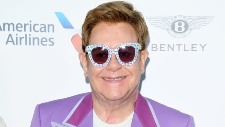 """ANTIBES, FRANCE - JULY 24: Sir Elton John attends the first """"Midsummer Party"""" hosted by Elton John and David Furnish to raise funds for the Elton John Aids Foundation on July 24, 2019 in Antibes, France. (Photo by Daniele Venturelli/Daniele Venturelli/Getty Images )"""