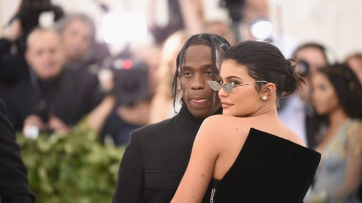 NEW YORK, NY - MAY 07:  Travis Scott and Kylie Jenner attend the Heavenly Bodies: Fashion & The Catholic Imagination Costume Institute Gala at The Metropolitan Museum of Art on May 7, 2018 in New York City.  (Photo by Jason Kempin/Getty Images)
