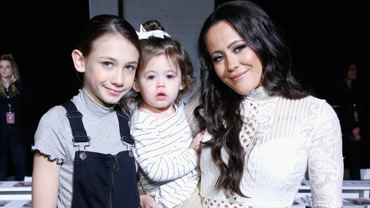 NEW YORK, NY - FEBRUARY 07:  (L-R) Jace Vahn Evans, Ensley Jolie Eason and Jenelle Evans attend the Indonesian Diversity FW19 Collections: 2Madison Avenue, Alleira Batik, Dian Pelangi and Itang Yunas front row during New York Fashion Week: The Shows at Industria Studios on February 7, 2019 in New York City.  (Photo by John Lamparski/Getty Images for Indonesian Diversity)