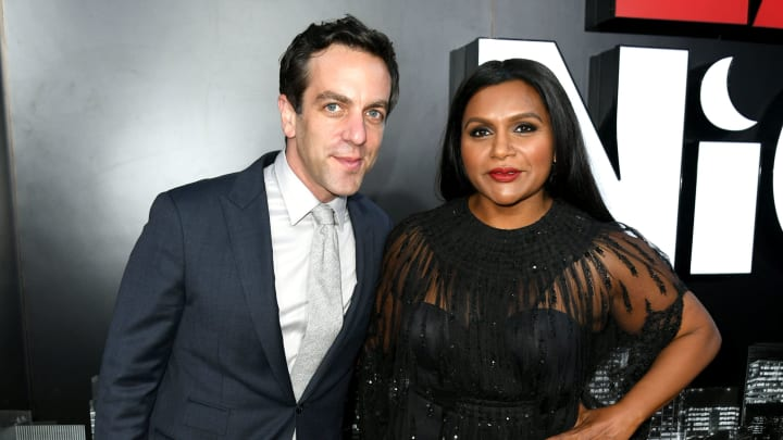 """LOS ANGELES, CALIFORNIA - MAY 30: BJ Novak (L) and Mindy Kaling arrive at the LA premiere of Amazon Studio's """"Late Night"""" at The Orpheum Theatre on May 30, 2019 in Los Angeles, California. (Photo by Kevin Winter/Getty Images)"""