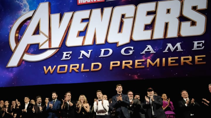 "LOS ANGELES, CA - APRIL 22: (EDITORS NOTE: Retransmission with alternate crop.) Director Joe Russo, Anthony Russo, Mark Ruffalo, Chris Evans, Robert Downey Jr., Scarlett Johansson, Jeremy Renner, Chris Hemsworth, Executive producer Jon Favreau, President of Marvel Studios/Producer Kevin Feige, and Executive producer Louis D'Esposito attend the Los Angeles World Premiere of Marvel Studios' ""Avengers: Endgame"" at the Los Angeles Convention Center on April 23, 2019 in Los Angeles, California.  (Photo by Alberto E. Rodriguez/Getty Images for Disney)"