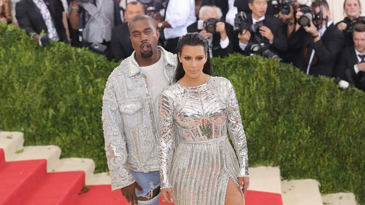 """NEW YORK, NY - MAY 02:  Kanye West and Kim Kardashian attend the """"Manus x Machina: Fashion In An Age Of Technology"""" Costume Institute Gala at Metropolitan Museum of Art on May 2, 2016 in New York City.  (Photo by Neilson Barnard/Getty Images for The Huffington Post)"""