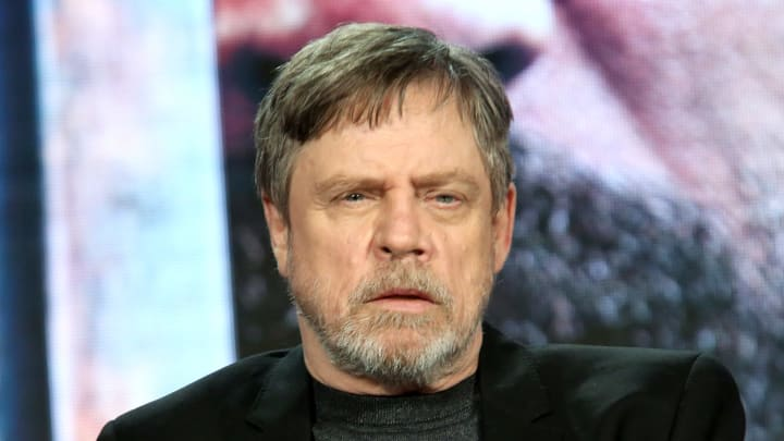 """PASADENA, CALIFORNIA - FEBRUARY 10: Mark Hamill speaks during HISTORY's """"Knightfall"""" presented by Mark Hamill, Tom Cullen and Aaron Helbing at the 2019 Winter Television Critics Association Press Tour on February 10, 2019 in Pasadena, California. (Photo by Jesse Grant/Getty Images for A+E Networks )"""