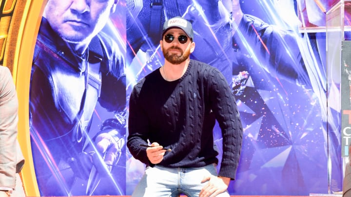 HOLLYWOOD, CALIFORNIA - APRIL 23:  Chris Evans poses at the Marvel Studios' 'Avengers: Endgame' Cast Place Their Hand Prints In Cement At TCL Chinese Theatre IMAX Forecourt at TCL Chinese Theatre IMAX on April 23, 2019 in Hollywood, California. (Photo by Matt Winkelmeyer/Getty Images)