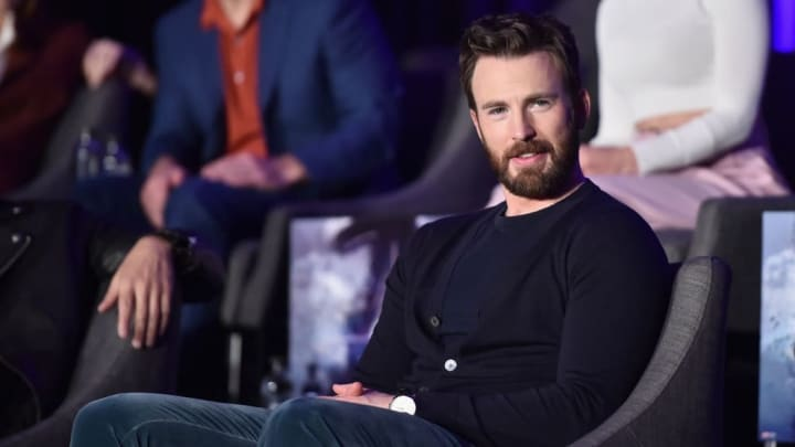 LOS ANGELES, CA - APRIL 07: Chris Evans speaks onstage during Marvel Studios' 'Avengers: Endgame' Global Junket Press Conference at the InterContinental Los Angeles Downtown on April 7, 2019 in Los Angeles, California.  (Photo by Alberto E. Rodriguez/Getty Images for Disney)