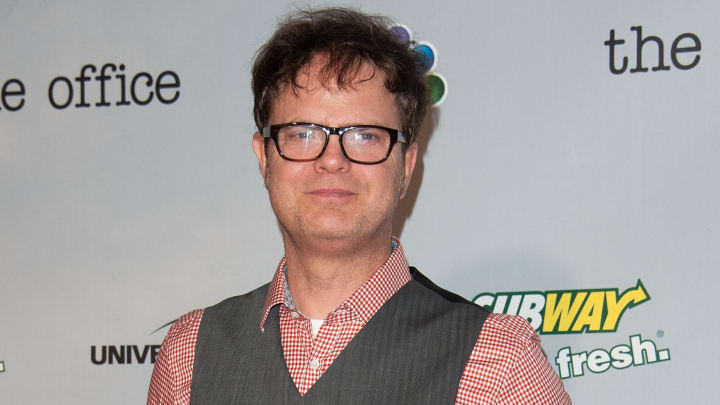 CULVER CITY, CA - MARCH 16: Rainn Wilson arrives at 'The Office' series finale wrap party at Unici Casa Gallery on March 16, 2013 in Culver City, California. (Photo by Valerie Macon/Getty Images)