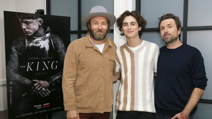 WEST HOLLYWOOD, CALIFORNIA - OCTOBER 22: Joel Edgerton, Timothee Chalamet and David Michod attend Netflix Presents 'The King' Tastemaker at The London Hotel on October 22, 2019 in West Hollywood, California. (Photo by Rachel Murray/Getty Images for Netflix)