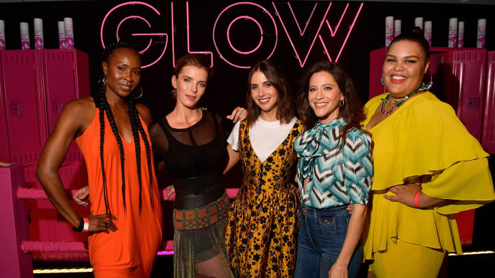 "LOS ANGELES, CA - JULY 29:  Sydelle Noel, Betty Gilpin, Alison Brie, Jackie Tohn, and Britney Young attend Netflix's ""Glow"" celebrates its 10 Emmy Nominations with Roller-Skating event at World on Wheels on July 29, 2018 in Los Angeles, California.  (Photo by Matt Winkelmeyer/Getty Images)"