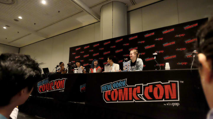 """NEW YORK, NEW YORK - OCTOBER 06: Ngozi Ukazu, Mariko Tamaki, Cathy G. Johnson, Colleen AF Veneable, and Rosemary Valero-O'Connell speak at the """"LGBTQ+ YA Comics and Graphic Novel"""" panel during 2019 New York Comic Con at Jacob Javits Convention Center on October 06, 2019 in New York City. (Photo by Paul Butterfield/Getty Images)"""