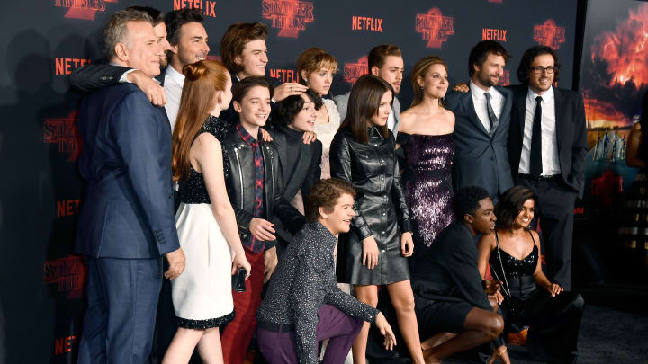 """LOS ANGELES, CA - OCTOBER 26:  Cast and crew of Stranger Things attend the premiere of Netflix's """"Stranger Things"""" Season 2 at Regency Bruin Theatre on October 26, 2017 in Los Angeles, California.  (Photo by Frazer Harrison/Getty Images)"""