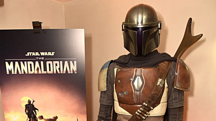"""WEST HOLLYWOOD, CALIFORNIA - OCTOBER 19:  Lucasfilm's """"The Mandalorian"""" at the Disney+ Global Press Day on October 19, 2019 in Los Angeles, California. """"The Mandalorian"""" series will stream exclusively on Disney+ when the service launches on November 12. (Photo by Alberto E. Rodriguez/Getty Images for Disney)"""