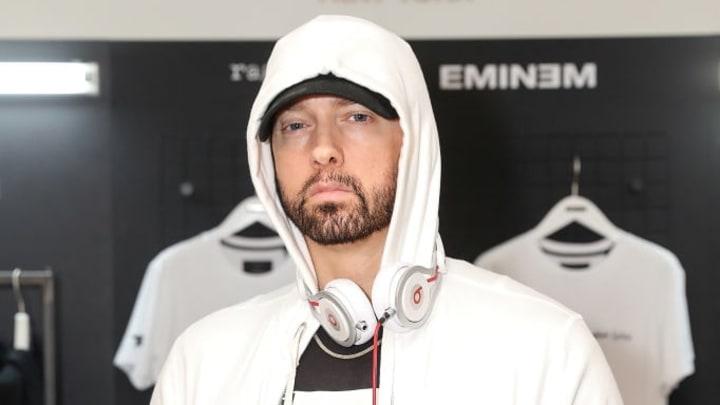 LONDON, ENGLAND - JULY 13: Eminem attends the rag & bone X Eminem London Pop-Up Opening on July 13, 2018 in London, England.  (Photo by David M. Benett/Dave Benett/Getty Images for Rag & Bone)