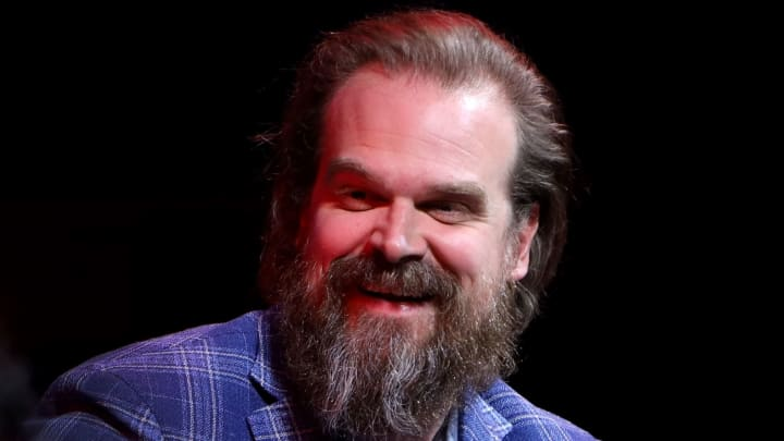 """LOS ANGELES, CALIFORNIA - JUNE 29:  David Harbour speaks on stage during SAG-AFTRA Foundation's sneak preview of """"Stranger Things 3"""" on June 29, 2019 in Los Angeles, California. (Photo by Randy Shropshire/Getty Images for SAG-AFTRA Foundation)"""