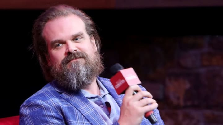 "LOS ANGELES, CALIFORNIA - JUNE 29:  David Harbour speaks onstage during SAG-AFTRA Foundation's sneak preview of ""Stranger Things 3"" on June 29, 2019 in Los Angeles, California. (Photo by Randy Shropshire/Getty Images for SAG-AFTRA Foundation)"