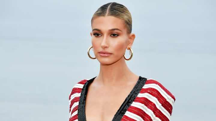 MALIBU, CALIFORNIA - JUNE 06: Hailey Bieber attends the Saint Laurent Mens Spring Summer 20 Show on June 06, 2019 in Paradise Cove Malibu, California. (Photo by Neilson Barnard/Getty Images)