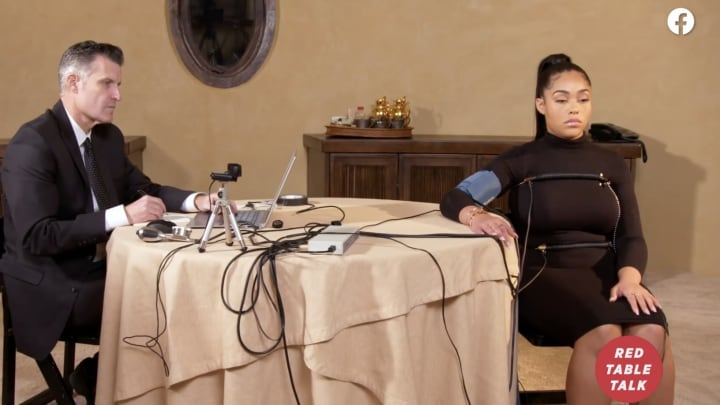 Jordyn Woods taking lie detector test on 'Red Table Talk.'